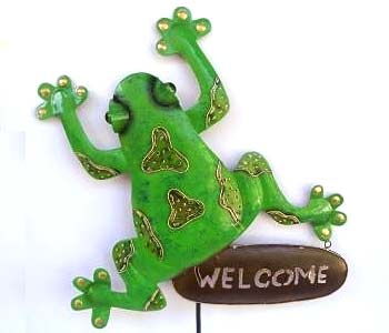 Frog Welcome Stakes Wholesale Bali Metal Garden ornaments